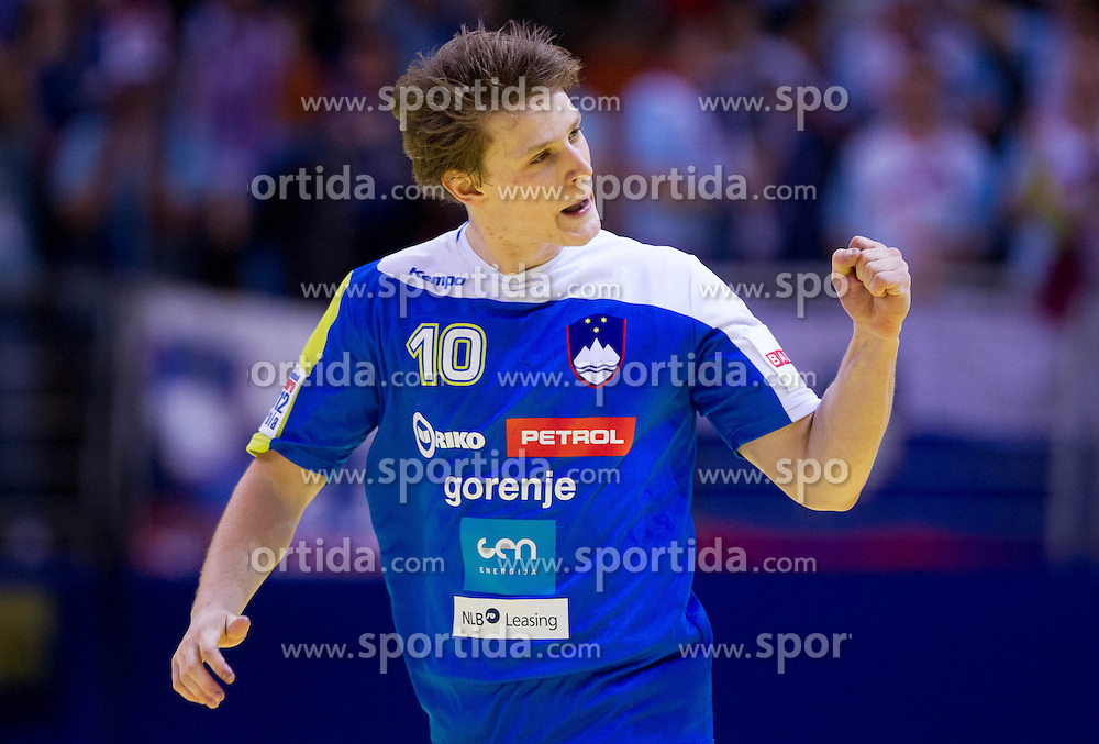 Jure Dolenec of Slovenia reacts during handball match between Iceland and Slovenia in  3rd Round of Preliminary Round of 10th EHF European Handball Championship Serbia 2012, on January 20, 2012 in Millennium Center, Vrsac, Serbia. Slovenia defeated Iceland 34-32. (Photo By Vid Ponikvar / Sportida.com)