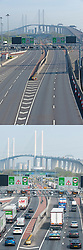 ©Licensed to London News Pictures 10/04/2020  <br /> Dartford, UK. Easter bank holiday weekend getaway traffic comparison images of the Dartford crossing in Kent one year apart, (10/4/2020) and (18/4/2019). Photo credit:Grant Falvey/LNP