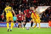 Joshua King (17) of AFC Bournemouth drives forward on an attack during the Premier League match between Bournemouth and Brighton and Hove Albion at the Vitality Stadium, Bournemouth, England on 15 September 2017. Photo by Graham Hunt.
