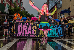 June 23, 2017 - New York, New York, United States - 2017 New York City Drag March remembering and honoring Gilbert Baker (1951-2017): the creator of the Rainbow Flag and co-founder of The Drag March. (Credit Image: © Erik Mcgregor/Pacific Press via ZUMA Wire)