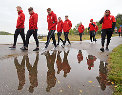 VIENNA, AUSTRIA - Thursday, October 6, 2016: Wales players during a pre-match walk at the Hilton Danube Waterfront Hotel ahead of the 2018 FIFA World Cup Qualifying Group D match against Austria. goalkeeper Adam Davies, Tom Bradshaw, David Edwards, Tom Lawrence, Ben Davies, Hal Robson-Kanu, James Collins, captain Ashley Williams. (Pic by David Rawcliffe/Propaganda)