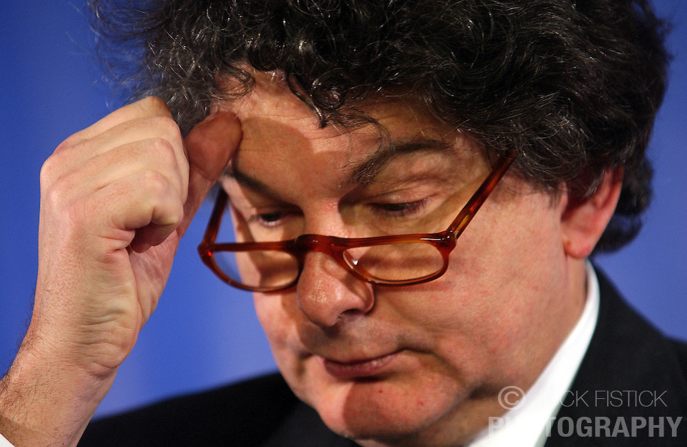 BRUSSELS, BELGIUM - MARCH-08-2005 - Thierry Breton, France's finance minister attends the ECOFIN conference, a meeting of  European Union finance and economic ministers.