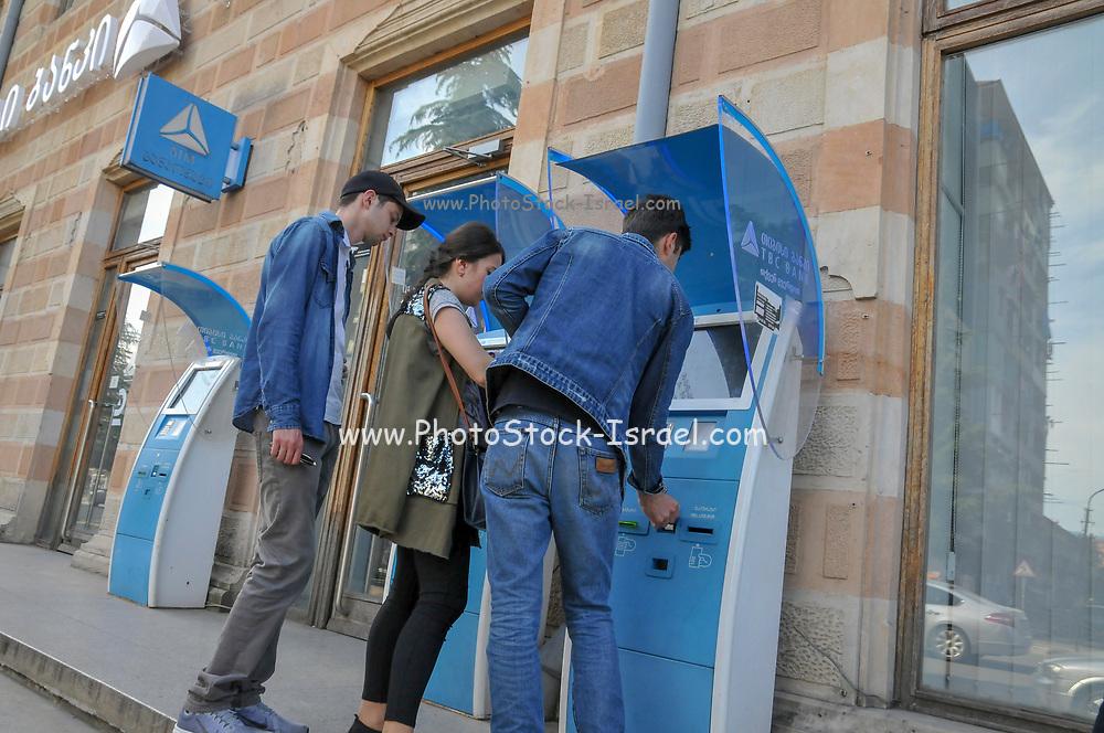 Automatic banking machine (ATM) in the street in Batumi, Georgia
