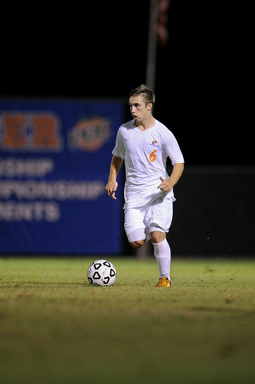 Sept. 15, 2012; Morrow, GA, USA; Clayton State men's soccer player Jonny Evans against Flagler at CSU. Photo by Kevin Liles/kdlphoto.com