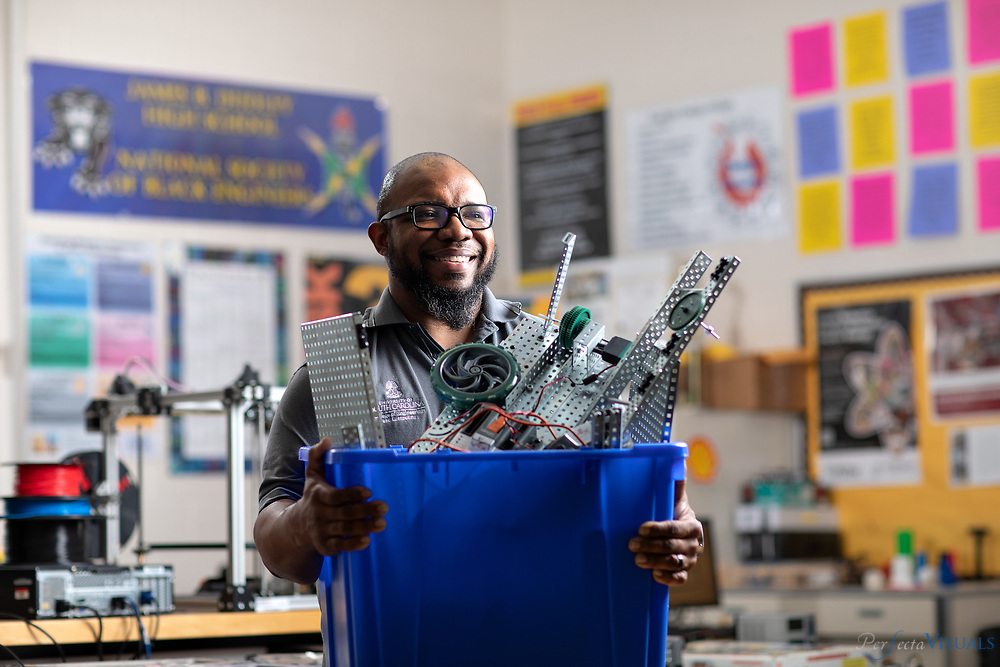 Dudley High School&rsquo;s Donald Sweeper teaches several Project Lead The Way courses, including Introduction to Engineering Design, Principles of Engineering, Environmental Sustainability and Engineering Design and Development.<br /> <br /> <br /> Photographed, Wednesday, May 9, 2018, in Greensboro, N.C. JERRY WOLFORD and SCOTT MUTHERSBAUGH / Perfecta Visuals