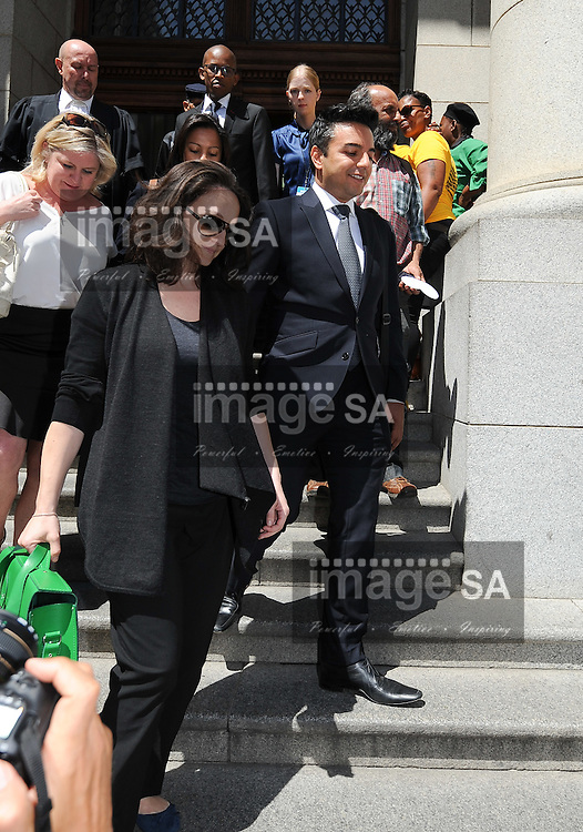 CAPE TOWN, SOUTH AFRICA - Monday 6 October 2014, Dewani family members leave court during the lunch break during Day 1 of the Shrien Dewani trial at the Cape High Court before Judge Jeanette Traverso. Dewani is caused of hiring hit men to murder his wife, Anni. Anni Ninna Dewani (n&eacute;e Hindocha; 12 March 1982 &ndash; 13 November 2010) was a Swedish woman who, while on her honeymoon in South Africa, was kidnapped and then murdered in Gugulethu township near Cape Town on 13 November 2010 (wikipedia).<br /> Photo by Roger Sedres