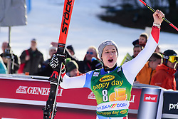 March 9, 2019 - Kranjska Gora, Kranjska Gora, Slovenia - Marco Odermatt of Switzerland celebrating his third place at the Audi FIS Ski World Cup Vitranc on March 8, 2019 in Kranjska Gora, Slovenia. (Credit Image: © Rok Rakun/Pacific Press via ZUMA Wire)