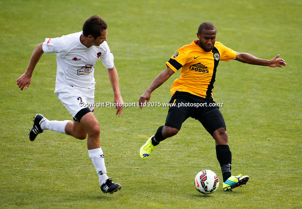 Wellington's Henry Fa'arodo. ASB Premiership Football - Wellington v Canterbury, 08 February 2015, , Wellington, New Zealand. Photo: John Cowpland / www.photosport.co.nz