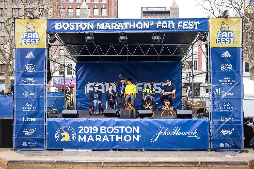 presentation of check at FanFest in Copley Square<br /> Abbott World Marathon Majors<br /> at Boston Marathon weekend