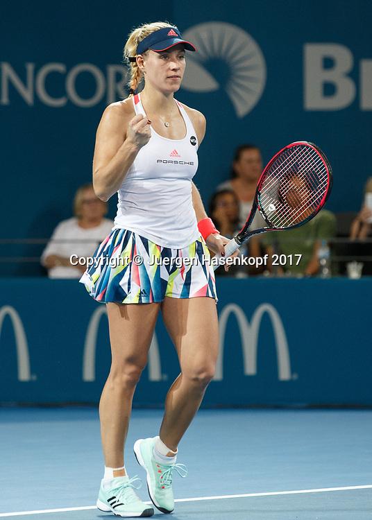 ANGELIQUE KERBER (GER) macht die Faust und jubelt nach ihrem Sieg,Jubel,Freude,Emotion,<br /> <br /> Tennis - Brisbane International  2017 - WTA -  Pat Rafter Arena - Brisbane - QLD - Australia  - 4 January 2017. <br /> &copy; Juergen Hasenkopf