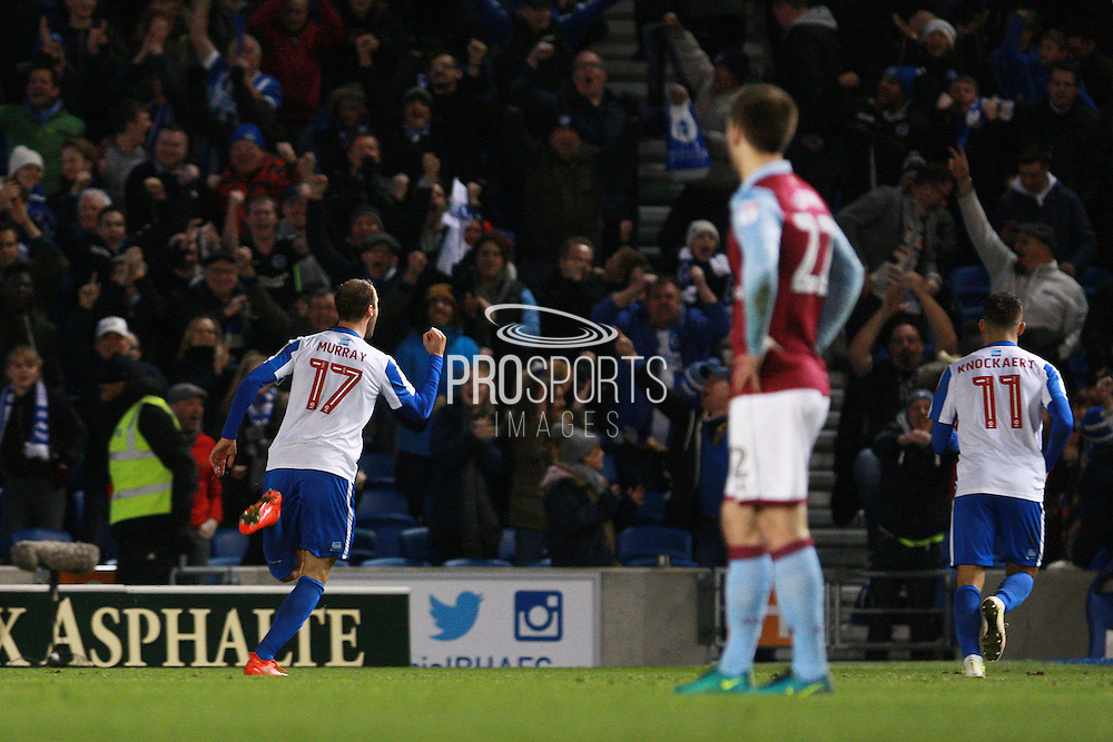 Brighton & Hove Albion centre forward Glenn Murray scores a goal at 1-1 during the EFL Sky Bet Championship match between Brighton and Hove Albion and Aston Villa at the American Express Community Stadium, Brighton and Hove, England on 18 November 2016. Photo by Bennett Dean.