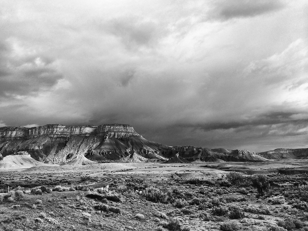 Storms clouds gathering over rock formations at Miller's Canyon, Utah along I-70