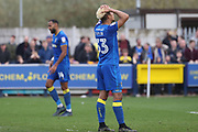 AFC Wimbledon striker Lyle Taylor (33) with head in hands during the EFL Sky Bet League 1 match between AFC Wimbledon and Scunthorpe United at the Cherry Red Records Stadium, Kingston, England on 7 April 2018. Picture by Matthew Redman.