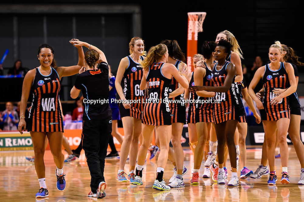 The tactixs celebrates winning the game during the ANZ Championship netball game Canterbury Tactixs V Northern Mystics at  Horncastle Arena, Christchurch, New Zealand. 25th April 2016. Copyright Photo: John Davidson / www.photosport.nz