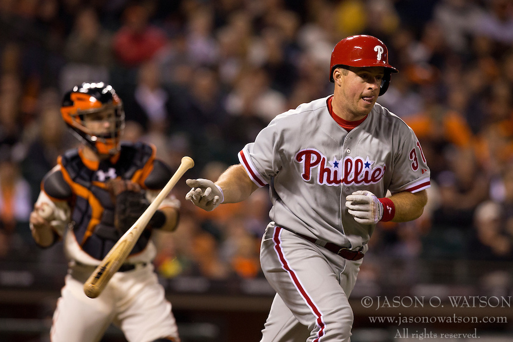 SAN FRANCISCO, CA - MAY 06: Erik Kratz #31 of the Philadelphia Phillies runs to first base after a dropped third strike by Buster Posey #28 of the San Francisco Giants during the fourth inning at AT&T Park on May 6, 2013 in San Francisco, California. The Philadelphia Phillies defeated the San Francisco Giants 6-2. (Photo by Jason O. Watson/Getty Images) *** Local Caption *** Erik Kratz; Buster Posey