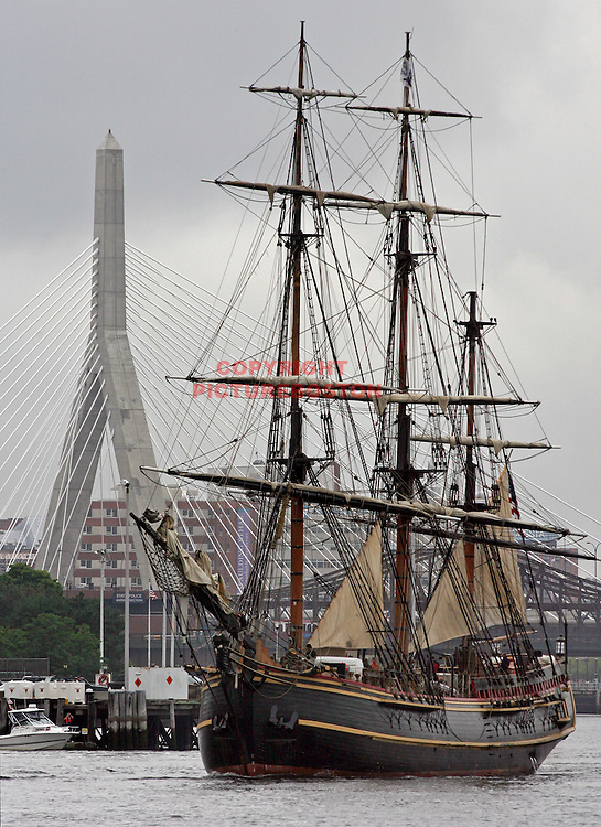 (07/08/09-Boston,MA) Sail Boston begins tomorrow. Here, the HMS Bounty sails around Boston Harbor...Mark Garfinkel photo