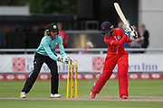 Sarah Taylor (Wicket Keeper) of the Surrey Stars tries to stump Lancashire Thunders Alex Hartley during the Women's Cricket Super League match between Lancashire Thunder and Surrey Stars at the Emirates, Old Trafford, Manchester, United Kingdom on 7 August 2018.