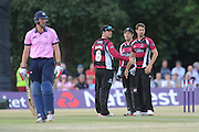 Oliie Rayner walks off after being dismissed by Tim Groenewald during the NatWest T20 Blast South Group match between Middlesex County Cricket Club and Somerset County Cricket Club at Uxbridge Cricket Ground, Uxbridge, United Kingdom on 26 June 2015. Photo by David Vokes.