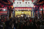 People crowd at the Thien Hau temple to celebrate the first day of the Chinese Lunar New Year, the Year of the Dog, on Friday February 16, 2018, in Los Angeles, the United States. (Xinhua/Zhao Hanrong)<br /> 2月16日,农历正月初一凌晨,在美国洛杉矶,大批华人涌入中国城天后宫庙上香祈福。新华社发 (赵汉荣摄) (Photo by Ringo Chiu)<br /> <br /> Usage Notes: This content is intended for editorial use only. For other uses, additional clearances may be required.