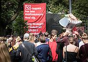 Manifestation mot inskräkningar av strejkrätten på Norra Bantorget i Stockholm 25 augusti 2018