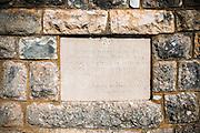 Plaque at the Burnum Roman Amphitheater ruins, Krka National Park, Dalmatia, Croatia