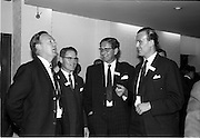 "05/06/1964<br /> 06/05/1964<br /> 05 June 1964<br /> Clothing Institute Conference at Jury's Hotel, Dublin. Picture shows (l-r): Mr. D.A. Fynn, Wetherdair N.I. Ltd.; Mr. M.R. Cassidy (Director and Secretary, Kilmaine Clothes Ltd. (presented a paper on ""Costs and Results""); Mr. J.V. Hill, Director, Clarence Clothing Co. Ltd. and Mr. J.C. Templeton, Mourne Clothing Co., during a break in proceedings."