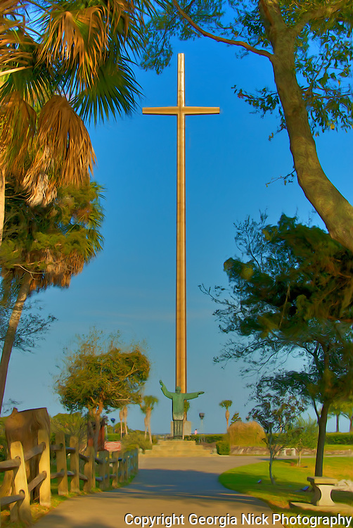 The Great Cross - St. Augustine, Florida. Erected in 1965 to commemorate the 400th birthday of St. Augustine, Florida. It soars 208 feet high above the beautiful grounds of the Mission of Nombre de Dios