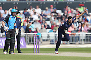 Lancashires Saqib Mahmood  during the Royal London 1 Day Cup match between Lancashire County Cricket Club and Worcestershire County Cricket Club at the Emirates, Old Trafford, Manchester, United Kingdom on 17 April 2019.