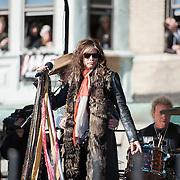 05 November 2012:  Aerosmith's Steven Tyler during Aerosmiths' free concert  in Allston in front of the building (1325Commonwealth Ave) where band members once lived.  Boston, MA. ***Editorial Use Only*****