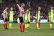 Lincoln City forward Matt Rhead (9) pointing, directing, signalling  during the EFL Sky Bet League 2 match between Lincoln City and Exeter City at Sincil Bank, Lincoln, United Kingdom on 30 March 2018. Picture by Mick Atkins.