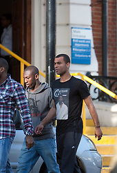 © Licensed to London News Pictures. 19/03/2012. London, U.K..Ashley Cole ® and Sean Wright Phillips (l) on 19/3/2012 leaving the London chest Hospital after visiting Fabrice Muamba this afternoon who is still in hospital after suffering A cardiac arrest in the FA Cup match Saturday 17/3/2012 at White Heart Lane against Tottenham Hotspur..Photo credit : Rich Bowen/LNP