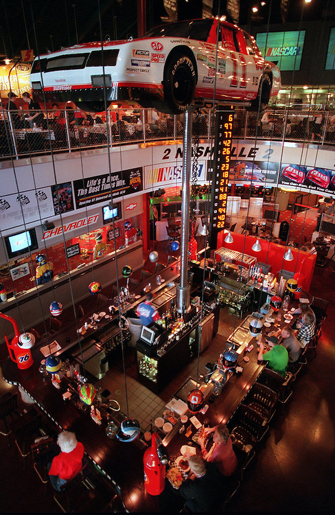 Interior of a Nascar themed restaurant