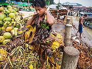"10 JUNE 2014 - YANGON, MYANMAR:   Unloading bananas on the banana jetty. The ""banana jetty"" is on the Yangon River north of central Yangon on Strand Road. Bananas, coconuts and other fruit are brought in here from upcountry, sold and reshipped to other parts of Myanmar (Burma). All of the labor here is done by hand. Porters carry the produce to the jetty and porters load the boats before they steam upriver.   PHOTO BY JACK KURTZ"
