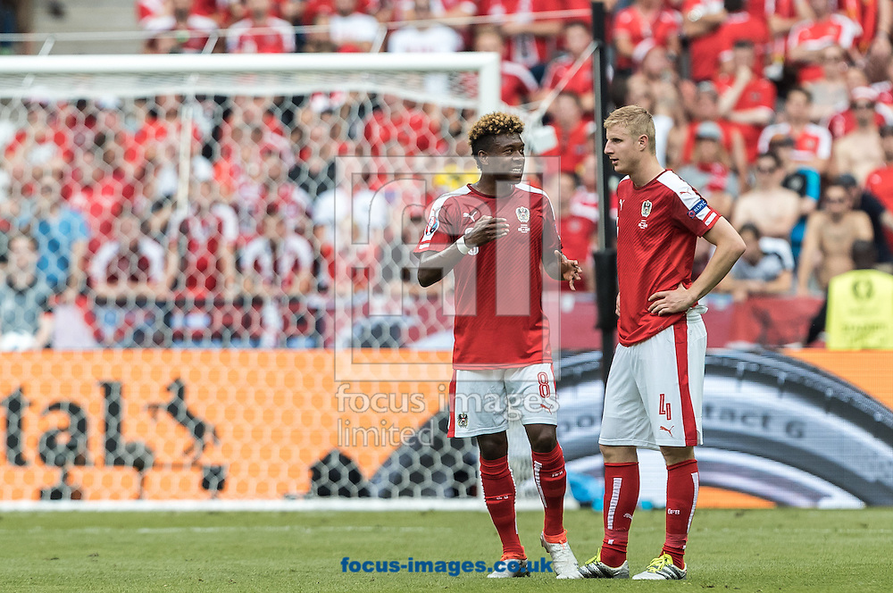 David Alaba and Martin Hinteregger of Austria during the UEFA Euro 2016 match at Stade Velodrome, Marseille, France.<br /> Picture by EXPA Pictures/Focus Images Ltd 07814482222<br /> 22/06/2016<br /> *** UK &amp; IRELAND ONLY ***<br /> EXPA-FEI-160622-5029.jpg