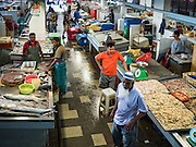 17 NOVEMBER 2016 - GEORGE TOWN, PENANG, MALAYSIA:  The fish market in George Town, Penang, Malaysia. George Town is a UNESCO World Heritage city and wrestles with maintaining its traditional lifestyle and mass tourism.       PHOTO BY JACK KURTZ