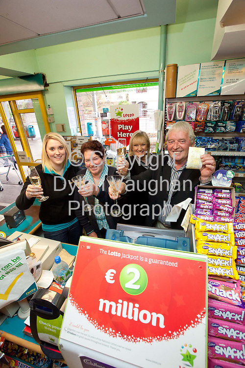 11/11/2010.From left Linda Murphy, Mary McGrath and Mona and Pat Dunphy pictured at Dunphy's in Thomastown in Kilkenny where one of the winning Lotto tickets was sold..Picture Dylan Vaughan