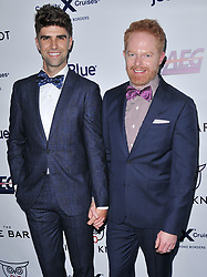(L-R) Justin Mikita and Jesse Tyler Ferguson arrives at Jessie Tyler Ferguson's 'Tie The Knot' 5 Year Anniversary celebration held at NeueHouse Hollywood in Los Angeles, CA on Thursday, October 12, 2017. (Photo By Sthanlee B. Mirador/Sipa USA)