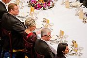 Staatsbezoek aan Nederland van Zijne Majesteit Koning Filip der Belgen vergezeld door Hare Majesteit Koningin <br /> Mathilde aan Nederland.<br /> <br /> State Visit to the Netherlands of His Majesty King of the Belgians Filip accompanied by Her Majesty Queen<br /> Mathilde Netherlands<br /> <br /> op de foto / On the photo: Staatsbanket in Koninklijk Paleis Amsterdam met koning Willem Alexander, koningin Maxima, de Belgische koning Filip, koningin Mathilde ////  State Banquet at the Royal Palace in Amsterdam  with King Willem Alexander, Queen Maxima, the Belgian King Philip, Queen Mathilde, Princess Beatrix, Prince Constantijn, Princess Laurentien, Princess Margriet and Pieter Van Vollenhoven in the small Reception room, before the state banquet.
