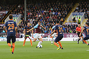 9 Sam Vokes for Burnley FC shoots on goal during the Europa League third qualifying round leg 2 of 2 match between Burnley and Istanbul basaksehir at Turf Moor, Burnley, England on 16 August 2018.