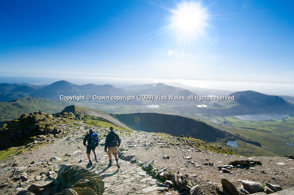 Walkers near summit<br /> Snowdon / Yr Wyddfa<br /> Snowdonia<br /> North<br /> Walking<br /> Activities and Sports