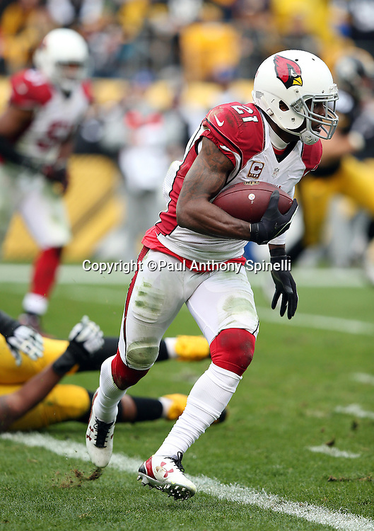 Arizona Cardinals cornerback Patrick Peterson (21) intercepts a failed Pittsburgh Steelers two point conversion attempt that leaves the score at 12-10 with the Steelers leading during the 2015 NFL week 6 regular season football game against the Pittsburgh Steelers on Sunday, Oct. 18, 2015 in Pittsburgh. The Steelers won the game 25-13. (©Paul Anthony Spinelli)
