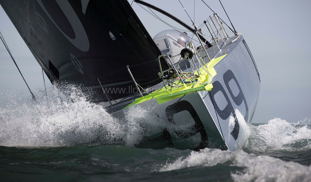 Pictures of offshore sailor Alex Thomson's new Hugo Boss IMOCA Open 60 training in the Solent. UK<br /> Credit - Lloyd Images