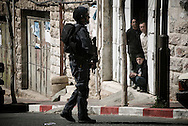 Israeli soldier patrol the centre of the West Bank city of Hebron February 12, 2010. Palestinians clashed with Israeli troops in Hebron amid outrage over Israel's plan to restore two flashpoint Jewish holy sites in the occupied territory.