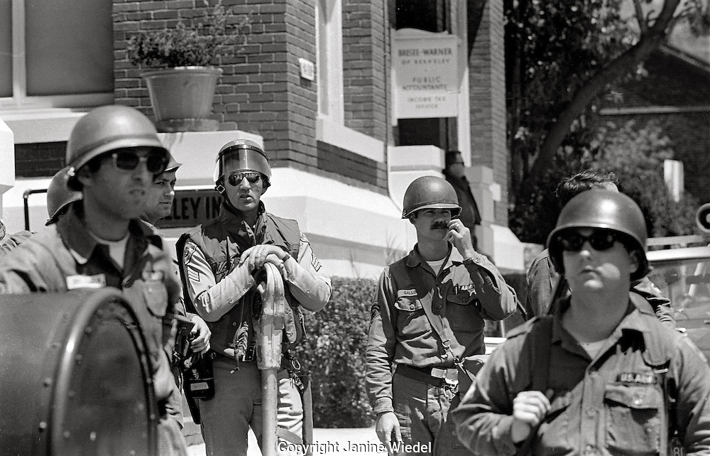 US National guard troops take over the town during  People's Park Student protest & riots in Berkeley California 1969