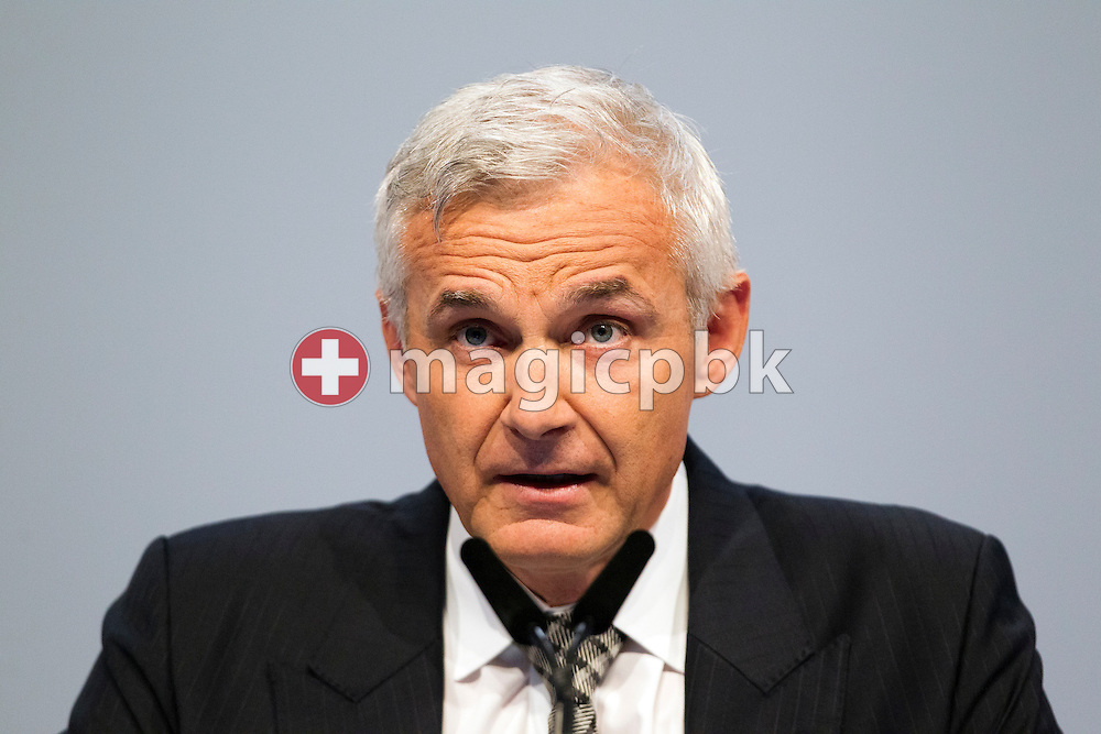 Urs Rohner, Chairman of the Board of Directors of Swiss Bank Credit Suisse (CS), speaks during the general assembly of the Credit Suisse at the Hallenstadion in Zurich, Switzerland, on Friday, April 27 2012. (Photo by Patrick B. Kraemer / MAGICPBK)