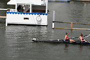 Henley on Thames, England, United Kingdom, Sunday, 07.07.19, B.C. Donoghue & O.K. Loe New Zealand, NZL, cross the line, winning the Final of the Stonor Challenge Trophy, <br /> Henley Royal Regatta,  Henley Reach, [©Karon PHILLIPS/Intersport Images]<br /> <br /> 12:06:55 1919 - 2019, Royal Henley Peace Regatta Centenary,