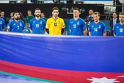 Azerbaijan team during futsal match between Portugal and Azerbaijan in Quaterfinals of UEFA Futsal EURO 2018, on February 6, 2018 in Arena Stozice, Ljubljana, Slovenia. Photo by Ziga Zupan / Sportida