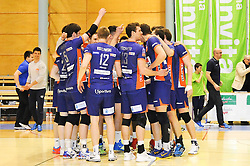 The team of ACH celebrate after volleyball game between OK Panvita Pomgrad and ACH Volley in 2nd semifinal match of  Slovenian National Championship 2015, on April 5, 2015 in Murska Sobota, Slovenia. Photo by Mario Horvat / Sportida
