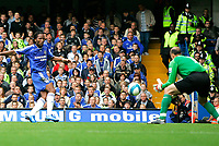Chelsea v Fulham. Barclays Premier League. 29/09/2007. Didier Drogba of Chelsea missed shot on target.
