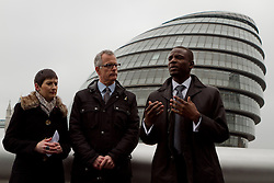 © Licensed to London News Pictures.05/04/2012. London, UK. The Lib Dem mayor of London candidate Brian Paddick  (centre) pictured outside City Hall today (05/04) with Caroline Pigeon (left) to announce that if elected Dwayne Brooks (right) would become deputy mayor for youth and community. Photo credit : James Gourley/LNP
